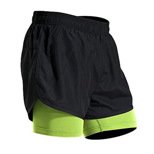 UJUNAOR Pantaloni Sportivi Bicchierini a vestibilità Attillata Skin Fitness a Due Pezzi,Attillata per Palestra(XXXX-Large,Verde)
