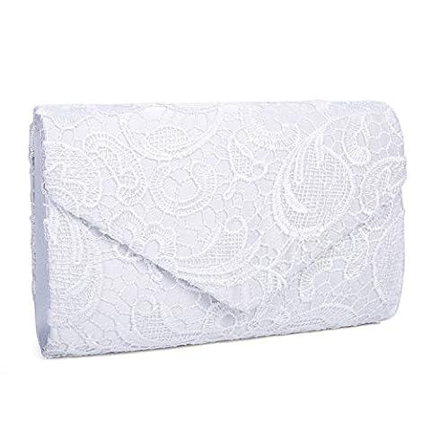 Kisschic Women's Elegant Floral Lace Envelope Clutch Evening Prom Handbag Purse (White)