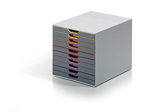 Durable 761027 Schubladenbox (Varicolor) 10 Fächer farbiger Ablauf