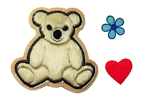 Teddy Bear Red Heart Blue Flower Kaylee Firefly Costume Embroidered Sew on Patches Applique DIY Cosplay Craft Supplies by Altotux (Teddy Bär Kostüm Diy)