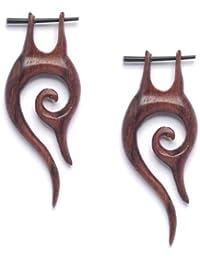 81stgeneration -bois hameçon de bâton à la main faite en bois boucles d'oreilles tribales paire