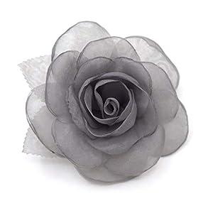 Brosche Blume aus Stoff Organza, Farbe grau.
