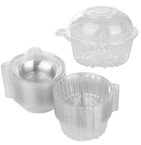 50einzelnen Cupcake Muffin Halter klar Kunststoff Cupcake Dome Halter, Cupcake Pods Carrier Schutzhülle Boxen mit wiederverschließbarer Deckel