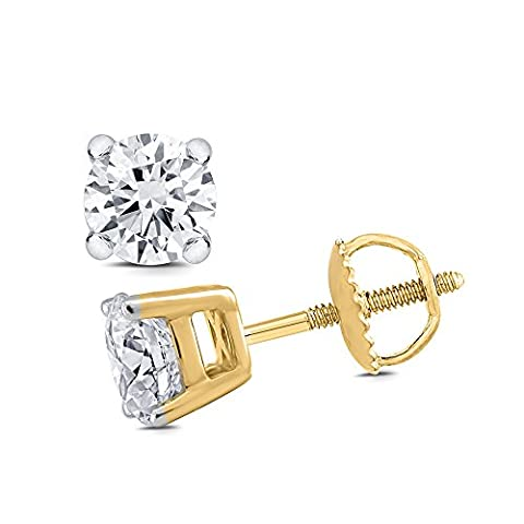 0.75 cttw (HI/I1 I2) Round White Diamond Stud Earrings in 9K and 18K White and Yellow Gold. (18ct Yellow Gold)