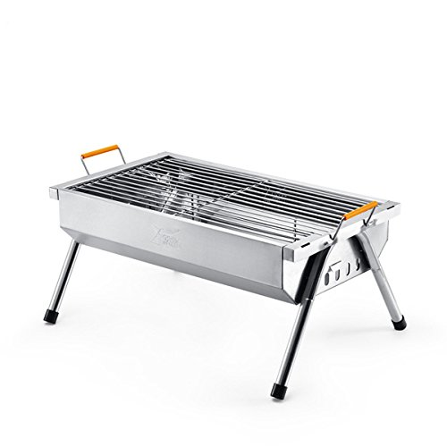 YUTOO Stainless Steel Outdoor Portable Charcoal Barbecue Grill Cooking Picnic Camping Wood BBQ Grill (Stainless Grill Portable Steel)