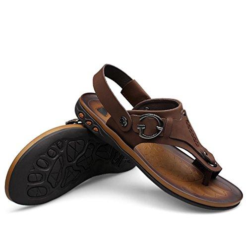 SHANGXIAN Männer Sommer Flip Flops Lässige Ledersandalen naturals