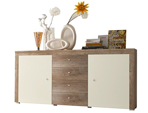 Sideboard Lamount 174x90x40cm Eiche Magnolie Design Anrichte Kommode Schubkastenschrank Schubkastenkommode Wohnzimmerschrank - 4