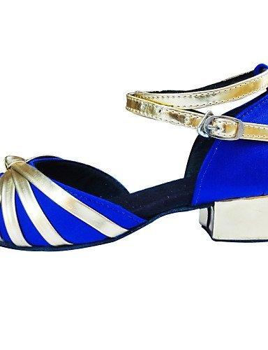 ShangYi Chaussures de danse ( Noir / Bleu / Marron / Rouge ) - Non Personnalisables - Talon Bas - Satin - Latine Brown