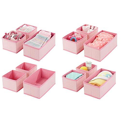mDesign 12er-Set Aufbewahrungsbox - atmungsaktive Stoffbox mit Fischgrätmuster für Windeln, Lätzchen etc. - vielseitige Schubladen Organizer für das Kinderzimmer - pink -