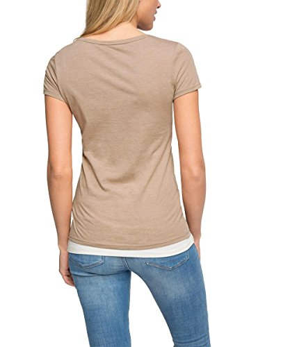 edc by ESPRIT Damen T-Shirt Beige (LIGHT TAUPE 260)