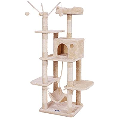 SONGMICS Cat Tree Cat Scratcher Activity Centres Scratching Post with a hammock
