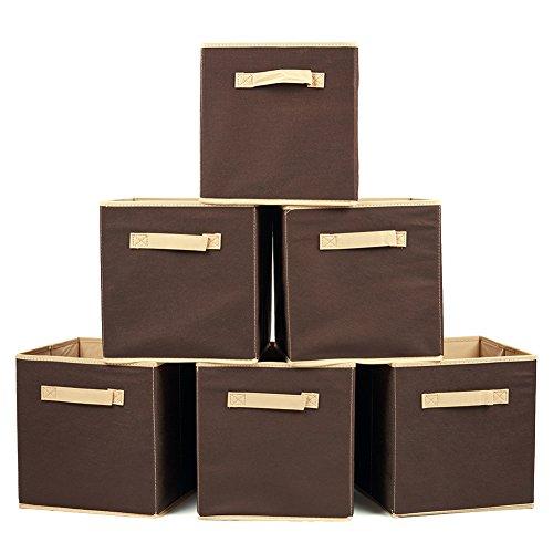 Cesto pieghevole, ezoware contenitore portaoggetti portabiancheria deposito per giocattoli, vestiti, dvd, libri, alimenti, lenzuole, e arte – nocciola, confezione da 6