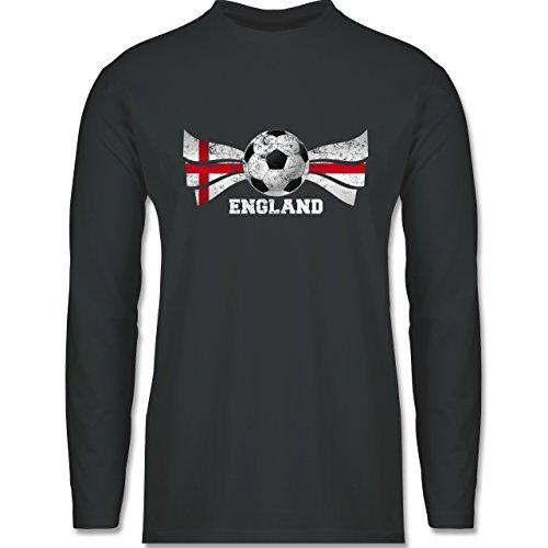 Fußball-WM 2018 - Russland - England Fußball Vintage - Herren Langarmshirt Dunkelgrau