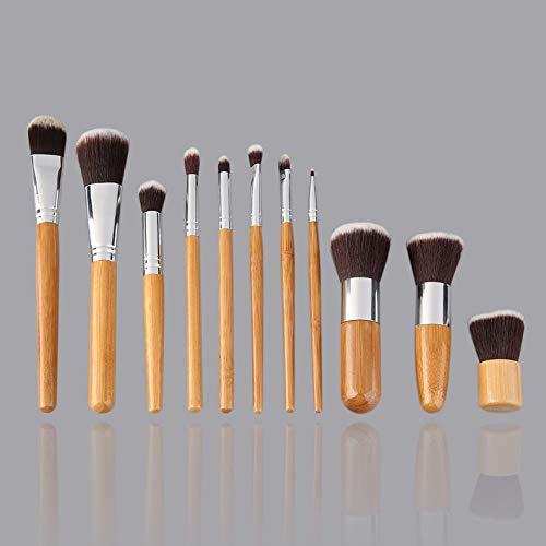 11 pièces de maquillage de brosse avec un sac en tissu Comestic fard à paupières Fondation Brosses poignée en bois de bambou avec sac Accessoires Beauté