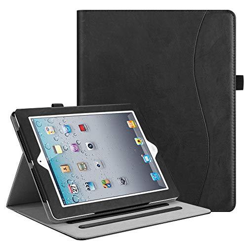 Fintie Hülle für iPad 2 / iPad 3 / iPad 4 - [Eckenschutz] Multi-Winkel Betrachtung Folio Stand Schutzhülle Cover Case mit Dokumentschlitze, Auto Wake/Sleep, Klassik Schwarz
