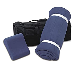 aktivshop Schlaf Reise-Set: Matratzenauflage, Kopfkissen, Transporttasche, 100% Visco, blau