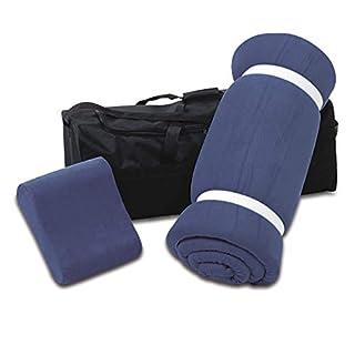 aktivshop Schlaf Reise-Set 3 teilig: Visko-Matratzenauflage, Visko-Kopfkissen, hochwertige Transporttasche, 100% Visco, blau, Visco-Topper: B 70 x L 200