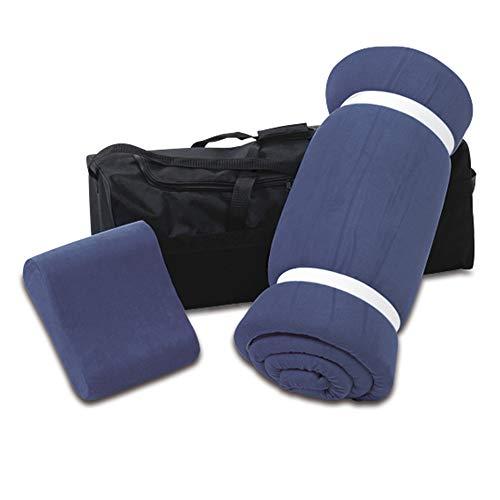 aktivshop Schlaf Reise-Set 3 teilig: Visko-Matratzenauflage, Visko-Kopfkissen, hochwertige Transporttasche, 100% Visco, blau, Visco-Topper: B 70 x L 200 -