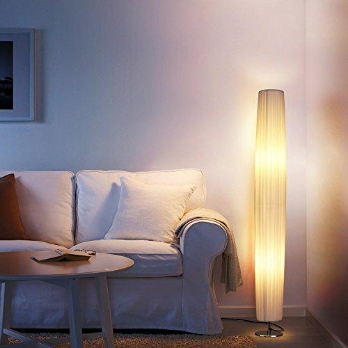 Preisvergleich Produktbild Albrillo Stehlampe Moderne E27 Stehleuchte mit Tube Lampenschirm und Edelstahl Basis, 120cm Standlampe Max. 40W für Wohnzimmer, weiß