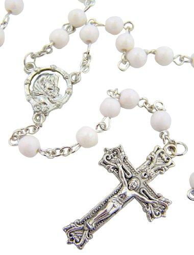 Damen Religiöse katholischen Geschenk 6mm Rund weiß Bead mit Silber Ton Madonna der Streets Center 45,7cm Rosenkranz Halskette (Center Street)