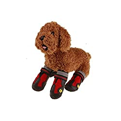 DIKEWANG 4PCS Dog Boots Waterproof Skid-resistant Sturdy Soles Labrador Dog Shoes For Large Dogs Hiking Shoes,Keep Your Love Dog Clean,Paws Warm,Safe When Running,Walking Outside in Winter from DIKEWANG