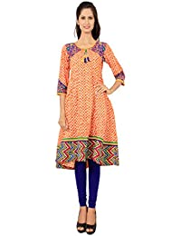 Rama Women's Cotton Embroidered Multicolor Long Anarkali Kurta