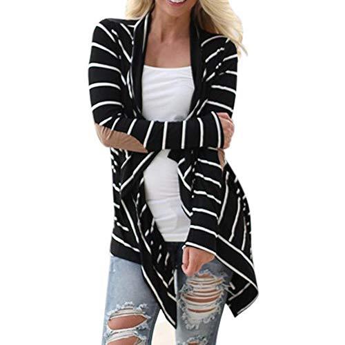 (Mäntel Damen Frauen schwarz-weiß gestreiften Farbe Strickjacke langärmelige Nähte Kimono Jacke dünnen Abschnitt Revers unregelmäßigen Saum Casual Top)