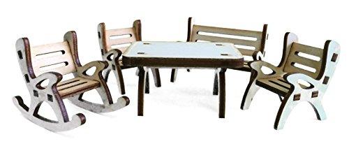Petra\'s Bastel News A-GMH04FS2 Tischgruppe, bestehend aus 1 x Tisch, 1 x Gartenbank, 1 x Schaukelstuhl und 2 Stühle aus Holz, 5-teilig