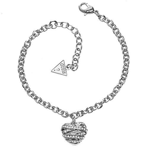 Guess ubb21594-s bracciale da donna in acciaio inox a forma di cuore con zirconi 19,5 cm