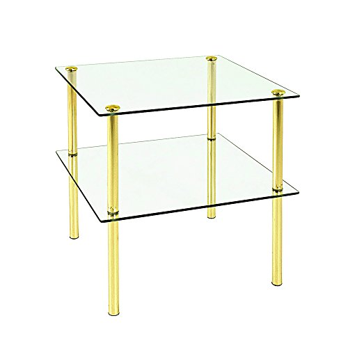 PEGANE Table d'appoint en tube d'acier Coloris Laitonné, L38 x P38 x H40 cm