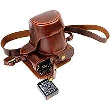 Protección completa inferior abertura de la caja Versión PU de protección de la cámara del bolso de cuero con el trípode Diseño compatible para FUJIFILM Fuji X Serie X - A2 XA2 con 18 - Lente de 55mm / 16 - Lente de 50mm con la correa del cuello del hombro de la correa de Brown oscuro