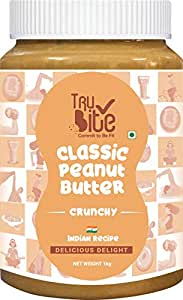 Trubite Classic Peanut Butter (Crunchy) (1kg) | 26g Protein | Cholesterol Free | Indian Recipe | Delightful Taste