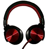 KOMC S35 On-Ear Headphones/Headsets with Noise Cancelling Feature, Excellent Sound Quality & Soft Earmuffs for Ultimate Gaming Experience (Red)