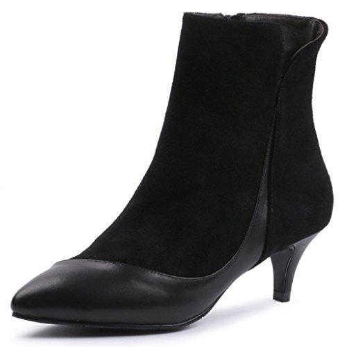 Bottines À Pointes Martin Boots Pour Femmes Avec Des Talons Hauts Chaussures À Talon Femme Bottines Pour Femmes, Noir, 40 Noir-39