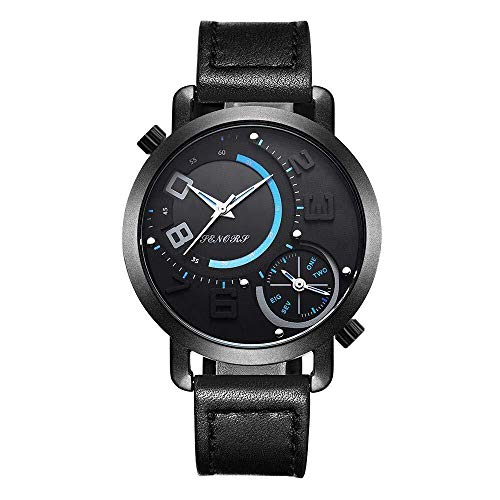 JCXT Zona Dual Time Business Casual Watch Impermeable Reloj de Caballero de Cuarzo Reloj de la Correa...