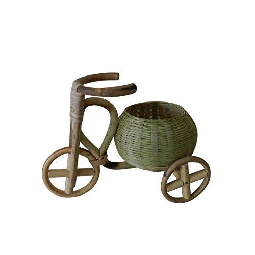 Natural Tejido de bambú y ratán cesta triciclo bicicleta diseño flores flor planta soporte para casa, oficina, fiestas, bodas, Spa, flores secas o artificiales arreglos florales, L17,8cm