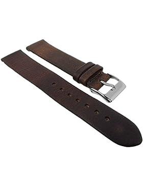 Herzog Uhrenarmband Kalbsleder | Ersatzband ohne Naht - braun 29088, Stegbreite:18mm, Schließe:Silbern