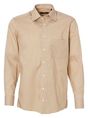 CASAMODA Herren Businesshemd 006060 Regular Fit bügelfrei Beige (Beige 63)