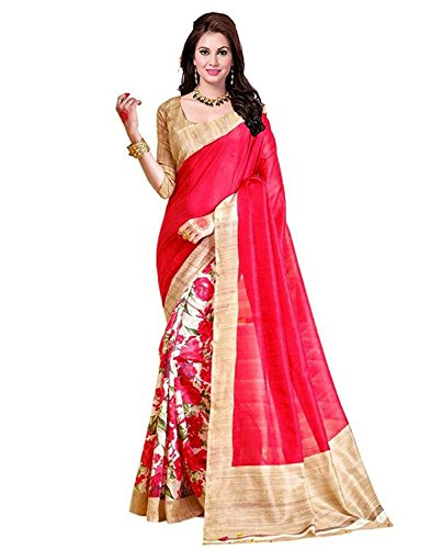 Sarees (Womens Clothing Saree For Women Latest Design Wear Sarees Collection in Mult-Coloured Art Silk Material Latest Saree With Designer Blouse Free