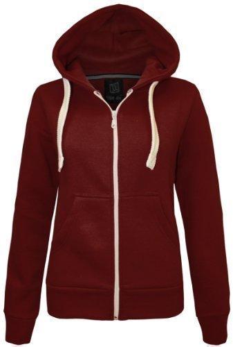 Damen Kapuzenpullover AMBER APPAREL Einfarbiges Reißverschluss Kapuzen Sweatshirt Fleece Top Größen 36 - 48 - FR 44, Bordeaux (Amber Reißverschluss)
