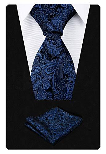 Alizeal Alizeal Krawatte mit Einstecktuch, Paisleymuster, handgefertigt Gr. 150 cm Länge x 9 cm Breite, navy