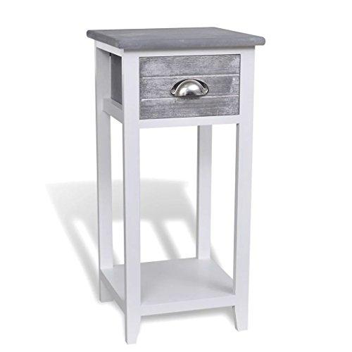 Festnight Nachttisch Nachtkommode Nachtschrank Schlafzimmer Tisch mit 1 Schublade Holztisch 30 x 30 x 63 cm - Grau