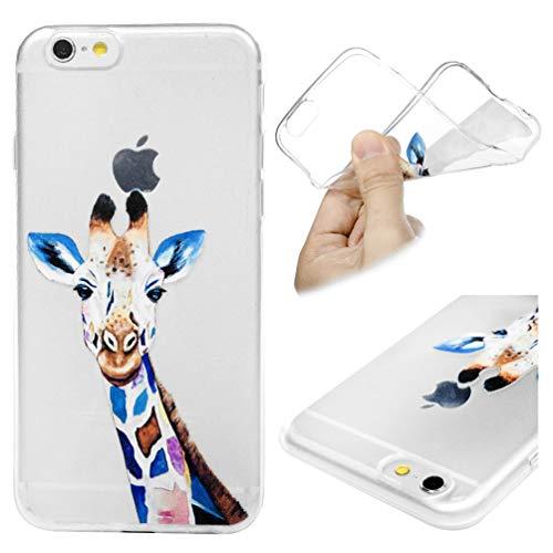 Handy Silikonhülle für iPhone 6 iPhone 6s, Stoßfest Schutz Tasche Weich TPU Gel Bumper Damen Herren Etui Dünn Transparent Durchsichtige Cover Case (Giraffe) Kratzfest Anti Fingerabdruck