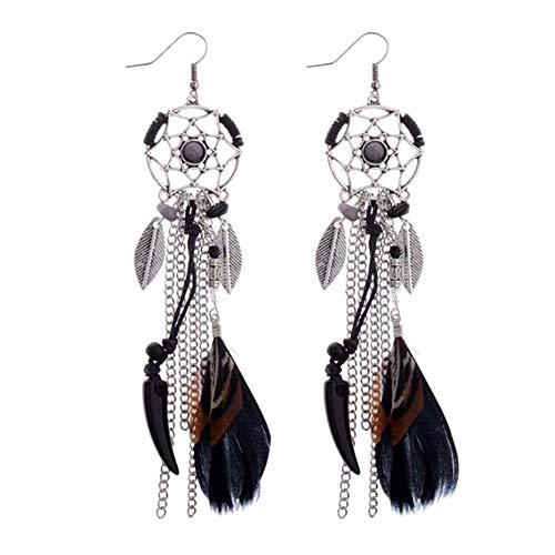 Spaufu 1 par de pendientes estilo bohemio hueco atrapasueños cadena de metal borla colgante gancho de la oreja mujeres niñas moda aleación joyas accesorio de vendaje 10 cm negro