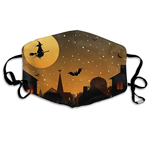 liang4268 Mundmasken Breathability Face Mouth Cover Mask - Warm Reirator Halloween Witch Print Earloop Mask Unisex for Women Teens Men (Teen Witch Kostüm)