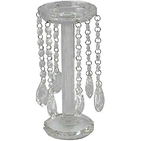 Supporto candela in vetro trasparente con gocce di cristallo lampadario 23cm