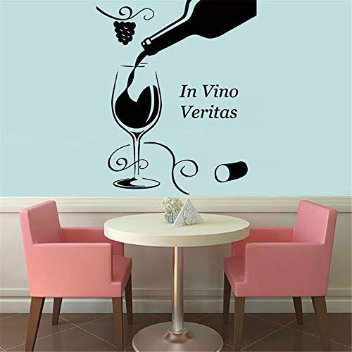 wlwhaoo In Vino Veritas Weinglas Flasche Floral Grapevine Wandaufkleber Wohnkultur Wohnzimmer Schlafzimmer Dekoration Wandkunst Wandbilder Kaffee 51 cm x 43 cm - Nyc Kaffee