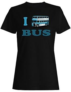 Amo conductor de autobús divertido vintage arte ciudad camiseta de las mujeres yy65f