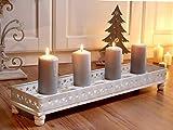 Unbekannt 4er Kerzentablett Kerzenschale Kerzenhalter Holz Vintage Shabby Kerzenleuchter Adventsleuchter XL BO (4)