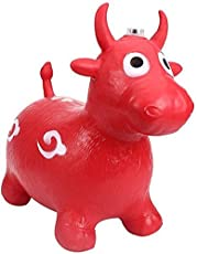 Tickles Red Jumping Bull (Inflatable Space Hopper, Jumping Bull, Ride-on Bouncy Animal) Stuffed Soft Plush Toy Love Girl 57 cm